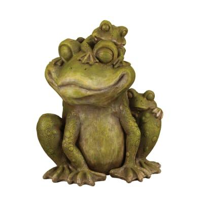 Regal Mother and Baby Frog Outdoor Garden Statue