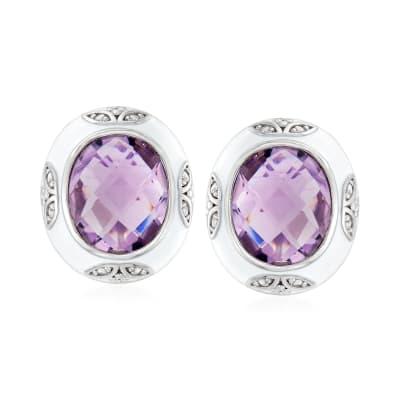 7.70 ct. t.w. Amethyst, .10 ct. t.w. White Topaz  and White Enamel Earrings in Sterling Silver