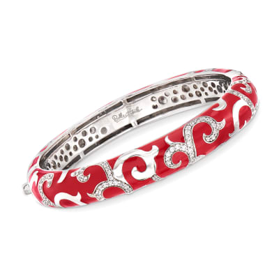 "Belle Etoile ""Royale"" Red Enamel and 2.33 ct. t.w. CZ Bangle Bracelet in Sterling Silver"