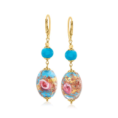 Italian Multicolored Murano Glass Bead Drop Earrings in 18kt Gold Over Sterling