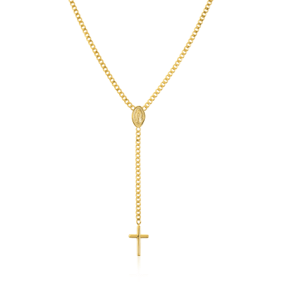 14kt Yellow Gold Cross and Virgin Mary Lariat Necklace