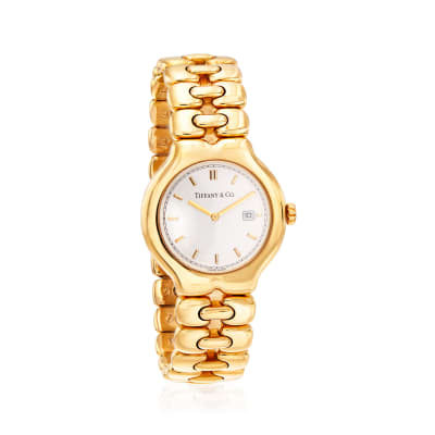 "C. 1990 Vintage Tiffany Jewelry ""Tesoro"" 32mm 18kt Yellow Gold Watch"