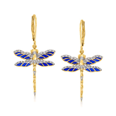 .20 ct. t.w. Diamond and Blue Enamel Dragonfly Drop Earrings in 18kt Gold Over Sterling