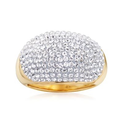 Andiamo Rhinestone Dome Ring in 14kt Yellow Gold Over Resin