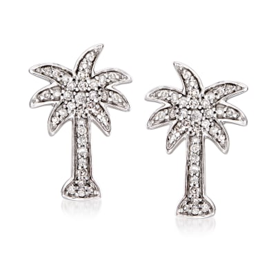 .20 ct. t.w. Diamond Palm Tree Earrings in 14kt White Gold