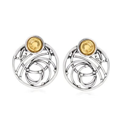 Sterling Silver and 14kt Yellow Gold Open-Circle Earrings