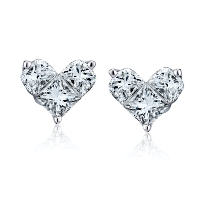 .58 ct. t.w. Diamond Heart Earrings in 18kt White Gold