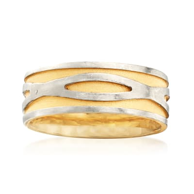 Simon G. Men's 8mm 18kt Yellow Gold and Platinum Wedding Band