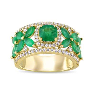 2.40 ct. t.w. Emerald and .39 ct. t.w. Diamond Flower Ring in 14kt Yellow Gold