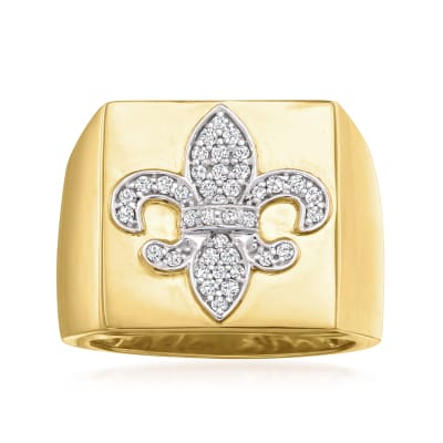 .25 ct. t.w. Diamond Fleur-De-Lis Ring in 18kt Gold Over Sterling