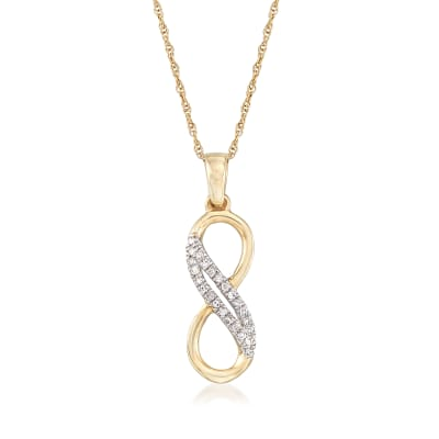14kt Yellow Gold Infinity Symbol Pendant Necklace with Diamond Accents