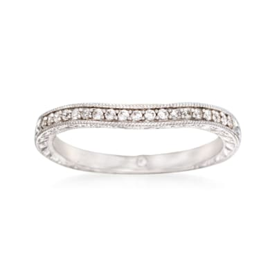 Gabriel Designs .13 ct. t.w. Diamond Curved Wedding Ring in 14kt White Gold