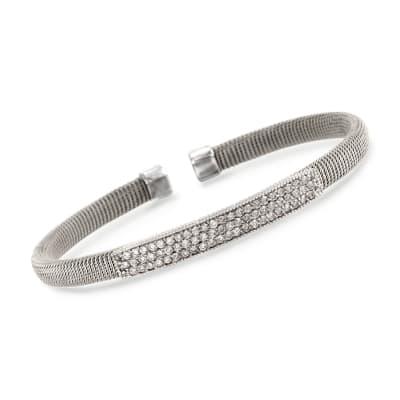 .95 ct. t.w. Diamond Top Cuff Bracelet in 14kt White Gold