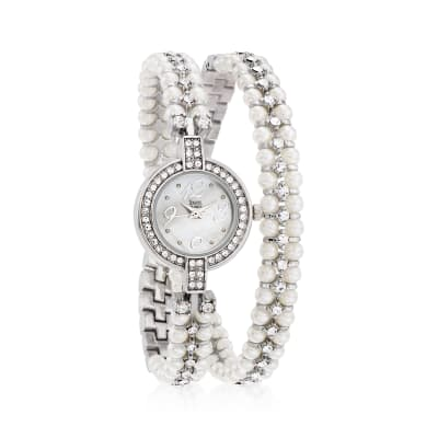Saint James Women's Mother-Of-Pearl and Crystal Double-Wrap 22mm Watch in Silvertone