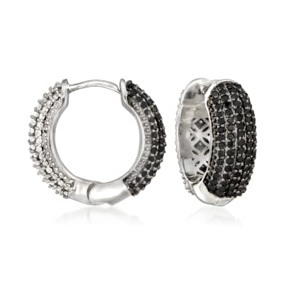 1.00 ct. t.w. Black and White Diamond Reversible Huggie Hoop Earrings in Sterling Silver