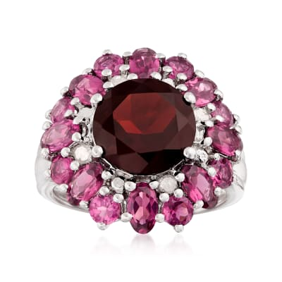 4.20 ct. Garnet and 3.20 ct. t.w. Rhodolite Garnet Ring with Diamonds in Sterling Silver