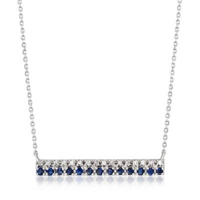 .20 ct. t.w. Sapphire Bar Necklace with Diamond Accents in 14kt White Gold