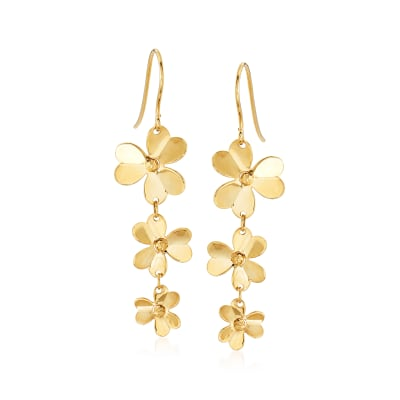 Italian 14kt Yellow Gold Floral Drop Earrings