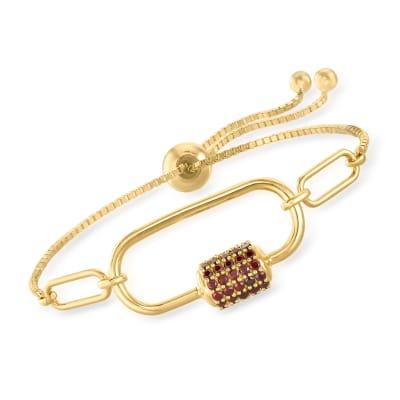 3.70 ct. t.w. Garnet Carabiner-Link Paper Clip Link Bolo Bracelet in 18kt Gold Over Sterling