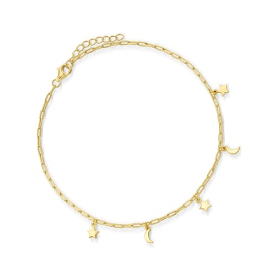 18kt Gold Over Sterling Paper Clip Link Star and Moon Anklet