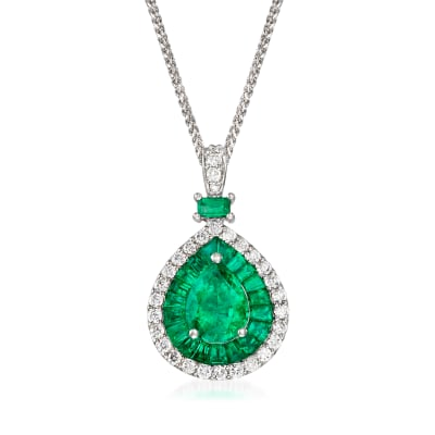 3.20 ct. t.w. Emerald and .60 ct. t.w. Diamond Pendant Necklace in 14kt White Gold