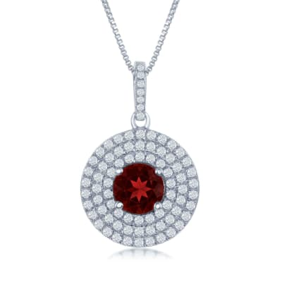 1.60 Carat Garnet and .75 ct. t.w. White Topaz Pendant Necklace in Sterling Silver
