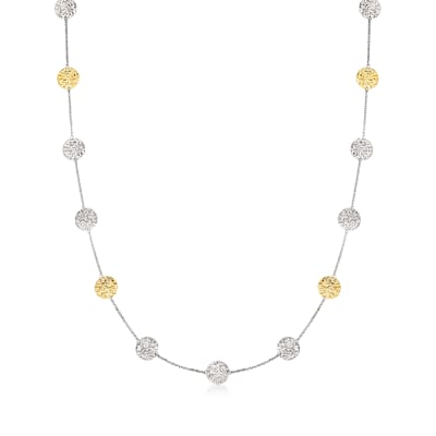 Sterling Silver and 14kt Yellow Gold Circle Disc Station Necklace