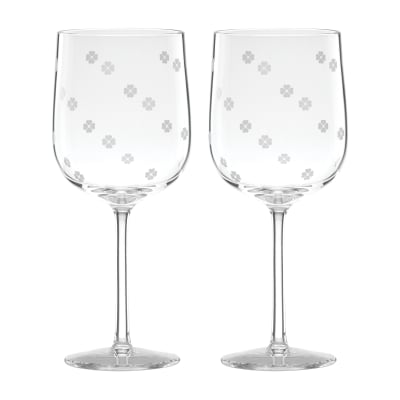 "Kate Spade New York ""Spade Clover"" Set of 2 Wine Glasses"