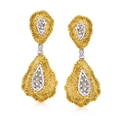 C. 1970 Vintage .50 ct. t.w. Diamond Drop Clip-On Earrings in 18kt Yellow Gold