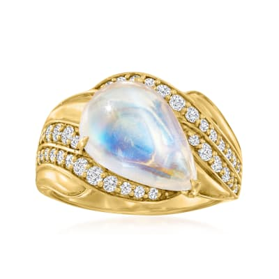 Moonstone Ring with .48 ct. t.w. Diamonds in 18kt Yellow Gold