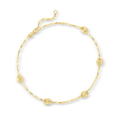 14kt Yellow Gold Mariner-Link Anklet