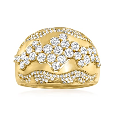 1.25 ct. t.w. Diamond Swirl Dome Ring in 14kt Yellow Gold
