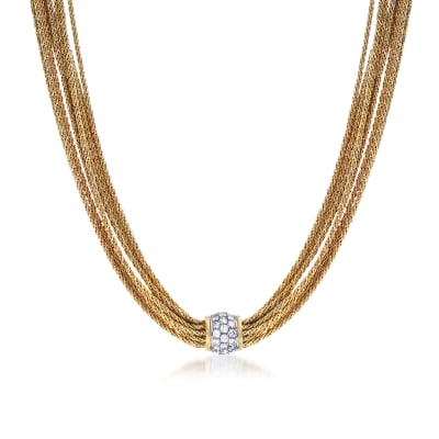 C. 1980 Vintage Tiffany Jewelry 2.50 ct. t.w. Diamond Multi-Strand Necklace in 18kt Yellow Gold