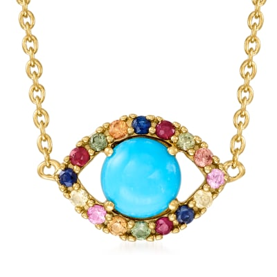 Turquoise and .30 ct. t.w. Multicolored Sapphire Evil Eye Necklace in 18kt Gold Over Sterling