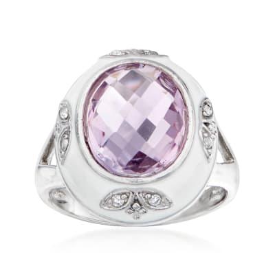 3.80 Carat Amethyst and White Enamel Ring in Sterling Silver