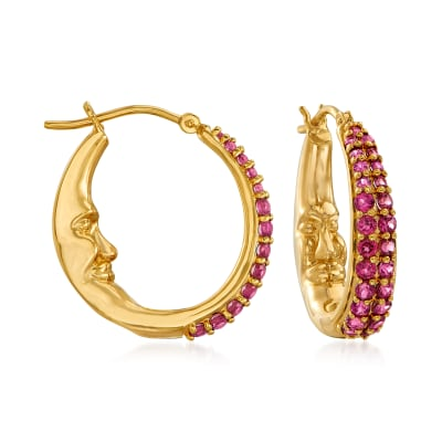1.80 ct. t.w. Rhodolite Garnet Moon Hoop Earrings in 18kt Gold Over Sterling
