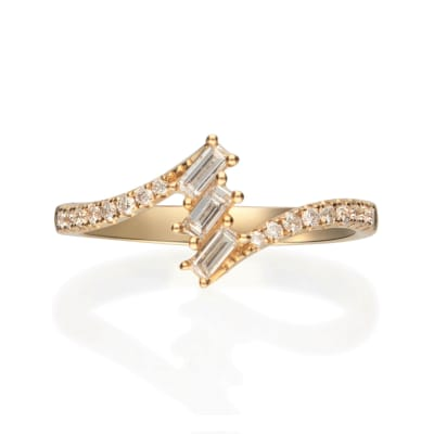 .34 ct. t.w. Diamond Trio Bypass-Style Ring in 14kt Yellow Gold