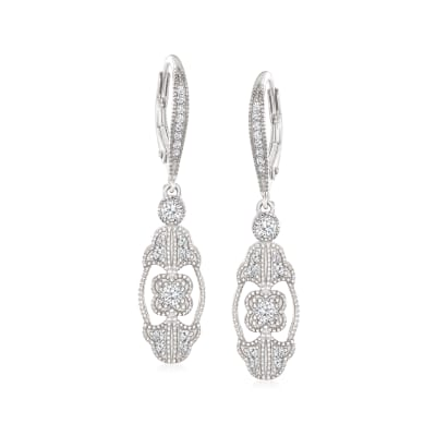 1.14 ct. t.w. CZ Drop Earrings in Sterling Silver