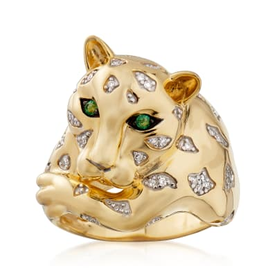 .10 ct. t.w. Diamond Cheetah Ring with Emeralds in 18kt Gold Over Sterling