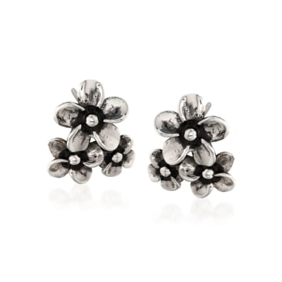 "Zina Sterling Silver ""Hibiscus"" Floral Cluster Earrings"