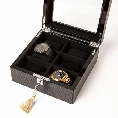 Brouk & Co. Brown Carbon Fiber 6-Watch Holder