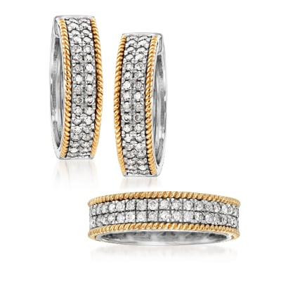 Two-Tone Jewelry Set: 2.00 ct. t.w. Diamond Eternity Band and Hoop Earrings in Sterling Silver and 14kt Yellow Gold