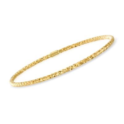 Italian 14kt Yellow Gold Hammered Bangle Bracelet
