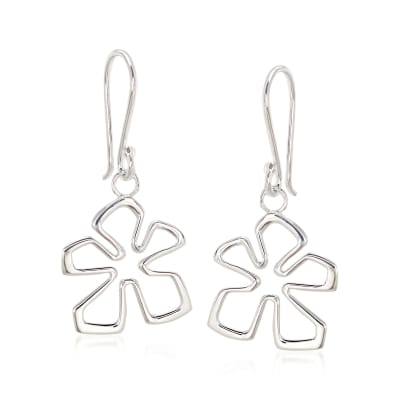 "Zina Sterling Silver Small ""Tiki"" Flower Drop Earrings"
