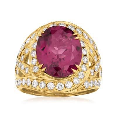 C. 1980 Vintage 6.23 Carat Rhodolite Garnet and 1.16 ct. t.w. Diamond Ring in 18kt Yellow Gold