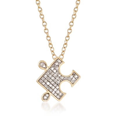 .10 ct. t.w. Diamond Puzzle Pieces Pendant Necklace in 14kt Yellow Gold