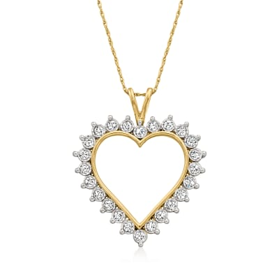 1.00 ct. t.w. Diamond Open-Space Heart Pendant Necklace in 18kt Gold Over Sterling