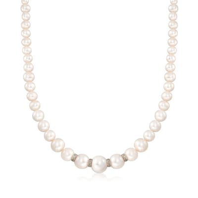 5-11.5mm Graduated Cultured Pearl Necklace with .24 ct. t.w. Diamonds and Sterling Silver