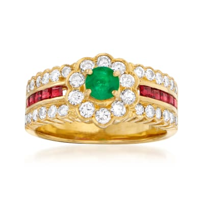 C. 1980 Vintage .32 Carat Emerald, .65 ct. t.w. Diamond and .31 ct. t.w. Ruby Flower Ring in 18kt Yellow Gold