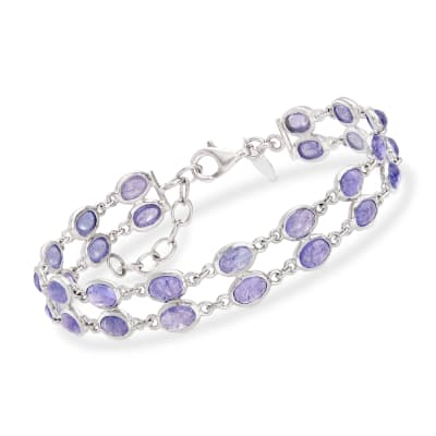 16.00 ct. t.w. Tanzanite Double Row Bracelet in Sterling Silver